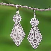Sterling silver dangle earrings, 'Karen Arrow' - Karen Hill Tribe Style Sterling Silver Earrings