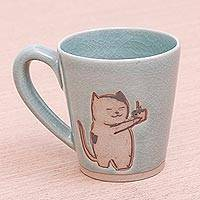 Celadon ceramic mug, 'Just For You' - Adorable Celadon Ceramic Kitty Mug