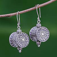 Silver dangle earrings, 'Karen Barrel' - Unique Hill Tribe 950 Silver Dangle Earrings