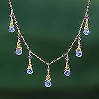 Gold plated kyanite and amethyst waterfall necklace, 'Ocean Tears' - 24k Gold Plated Gemstone Waterfall Necklace