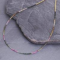 Tourmaline and 24k gold plate beaded necklace, 'Natural Rainbow' - 24k Gold and Tourmaline Beaded Necklace