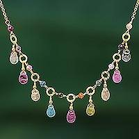 Tourmaline waterfall necklace, 'Colorful Array' - Natural Tourmaline 24k Gold Plated Waterfall Necklace