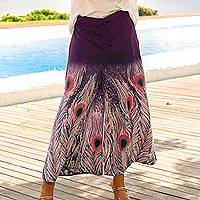 Cotton wide-leg cropped pants, 'Peacock Passion in Purple' - Purple Peacock Motif Batik Wide Leg Cotton Crop Pants