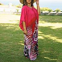Cotton batik caftan, 'Fanfare in Fuchsia' - All Cotton Batik Caftan Dress in Fuchsia and Red