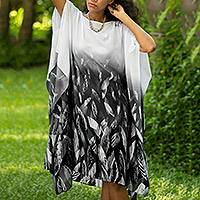 Cotton batik caftan, 'Raining Leaves' - Asymmetrical Batik Cotton Caftan Dress