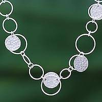 Silver link necklace, 'Outer Galaxy' - Stylish Hammered 950 Silver Link Necklace