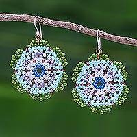 Beaded dangle earrings, 'Lanna Bloom in Green and Blue' - Green and Blue Beaded Flower Dangle Earrings