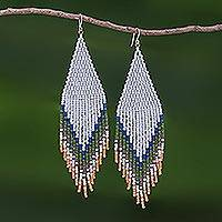 Beaded waterfall earrings, 'Lanna Waterfall in Green' - Long Beaded Waterfall Earrings from Thailand