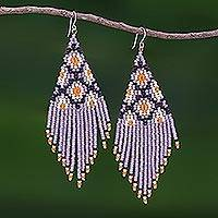 Beaded waterfall earrings, 'Lanna Cascade in Purple' - Purple Beaded Waterfall Earrings Handmade in Thailand