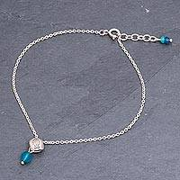 Quartz and sterling silver charm anklet, 'Chiang Mai Fish' - Fish Charm Sterling Silver and Quartz Anklet