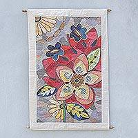 Cotton batik wall hanging, 'Twilight Bloom' - Hand Crafted Batik Patchwork Floral Wall Hanging
