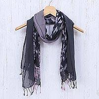 Cotton scarves, 'Galaxy of Love' (pair) - Pair of Cotton Tie-Dye Scarves in Shades of Grey
