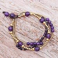 Amethyst and quartz beaded bracelet, 'Natural Wonders' - Thai Amethyst and Brass Beaded Bracelet