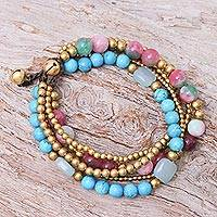 Multi-gemstone and brass beaded bracelet, 'Bohemian Melange' - Multi-gemstone Beaded Bracelet with Ringing Brass Bells