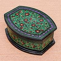 Lacquered wood jewelry box, 'Emerald Delight' - Handcrafted Green Floral Thai Lacquered Wood Jewelry Box