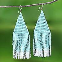 Glass beaded waterfall earrings, 'Pa Sak Mint' - Long Waterfall Beaded Earrings in Mint and White