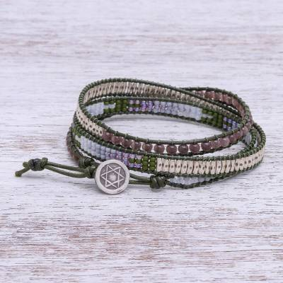 Leather and smoky quartz wrap bracelet, 'Pa Sak Star' - Beaded Leather Wrap Bracelet with Star of David