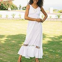 Cotton sundress, 'Soiree in White' - Hand Crafted White Cotton Sundress