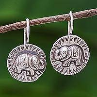 Silver drop earrings, 'Elephant Sun' - Hill Tribe Style 950 Silver Elephant Drop Earrings