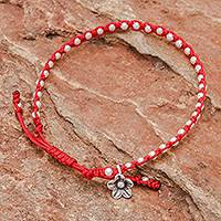 Silver beaded bracelet, 'Flower Path in Red' - Red Cord Bracelet with 950 Silver Beads
