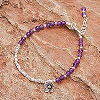 Amethyst and silver beaded bracelet, 'Charming Bloom' - Flower Themed Amethyst and 950 Silver Charm Bracelet
