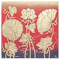 'Lively Red Lotus' - Signed Thai Red Lotus Blossom Painting with Golden Foil