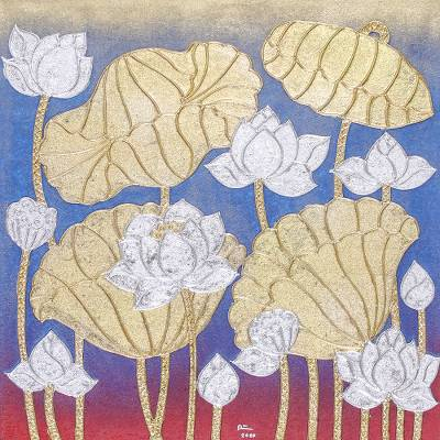'Blue Winter Lotus' - Signed Thai Blue Lotus Blossom Painting with Metallic Foil