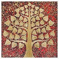 'Classic Red Bodhi' - Signed Thai Red Buddha Tree Painting with Golden Foil