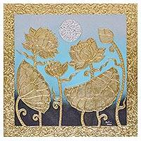 'Midnight Lotus' - Signed Thai Lotus Blossom Painting with Gold & Silver Foil