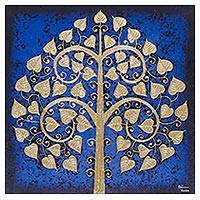 'Blue Night Sacred Tree' - Signed Thai Bo Tree Painting in Dark Blue with Golden Foil