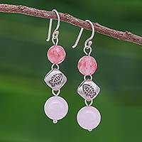 Quartz and silver beaded dangle earrings, 'Hill Tribe Pink' - Hill Tribe Style Pink Quartz Dangle Earrings