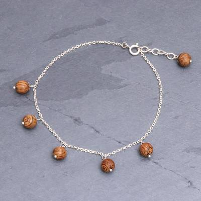 Bamboo and silver charm anklet, 'Bamboo Charm' - Interesting Bamboo Charm Anklet from Thailand