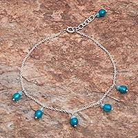 Quartz and sterling silver charm anklet, 'Azure Charm' - Blue Quartz Charm Anklet from Thailand