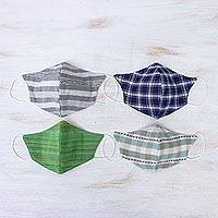 Cotton face masks 'Casual Style' (set of 4) - 4 Cotton Handcrafted Thai Face Masks in 2 Sizes
