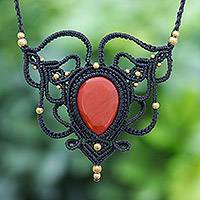 Jasper macrame pendant necklace, 'Bohemian Elegance' - Adjustable Red Jasper and Macrame Necklace