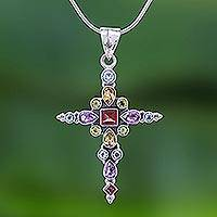 Multi-gemstone cross necklace, 'Christ's Love' - Thai Sterling Silver Cross Necklace with 16 Gemstones