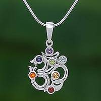 Multi-gemstone pendant necklace, 'Omkara Rainbow' - Thai Sterling Silver Omkara Necklace with 7 Gemstones