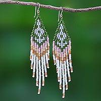 Beaded waterfall earrings, 'Bold Cascade in Green' - Beaded Waterfall Style Earrings from Thailand