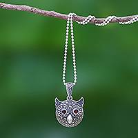 Garnet and marcasite pendant necklace, 'Bright-Eyed Owl' - Marcasite and Garnet Owl Pendant Necklace