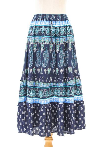 Rayon tiered skirt, 'Paisley Promise' - Blue Paisley Rayon Skirt from Thai Artisans