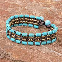Beaded wristband bracelet, 'Mae Rim Medley' - Recon Turquoise and Brass Wristband Bracelet