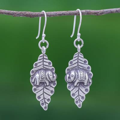Sterling silver dangle earrings, Elephant Nature
