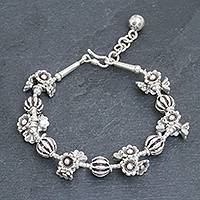 Silver beaded bracelet, 'A Spin on Beauty' - Silver Link Bracelet with Extender Chain from Thailand