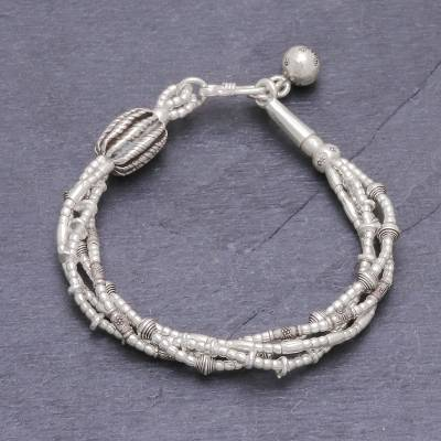 Silver beaded charm bracelet, 'A Passion for Karen' - Silver Beaded Bracelet with Stamped Charm from Thailand