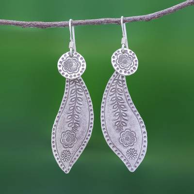 Sterling silver dangle earrings, 'Quiet Nature' - Sterling Silver Dangle Earrings Leaves