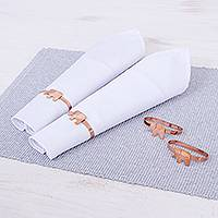 Copper napkin rings, 'Morning Elephants' (set of 4) - Thai Hand Crafted Copper Elephant Napkin Rings (Set of 4)