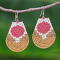 Beaded dangle earrings, 'Si Thep Treasure in Rose' - Rose and Orange Glass Beaded Dangle Earrings