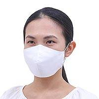 Cotton face masks, 'Pristine Purity' (set of 3) - Set of 3 Pristine White Filter Pocket Cotton Face Masks