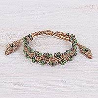 Agate beaded macrame bracelet, 'Shiny Forest in Beige/Green' - Agate Beaded Macrame Bracelet with Sliding Knot