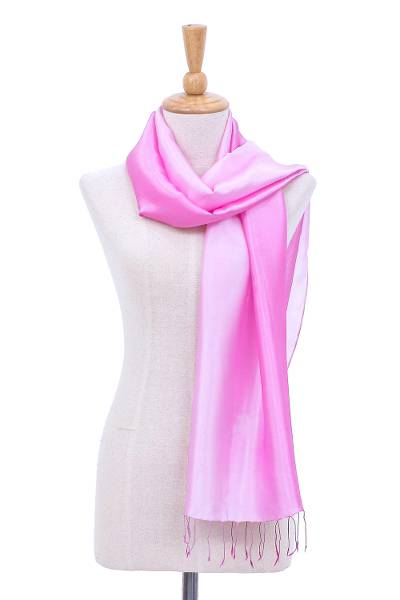 Rayon and silk scarf, 'Orchid Shimmer' - Ombre Orchid Rayon and Silk Fringed Scarf